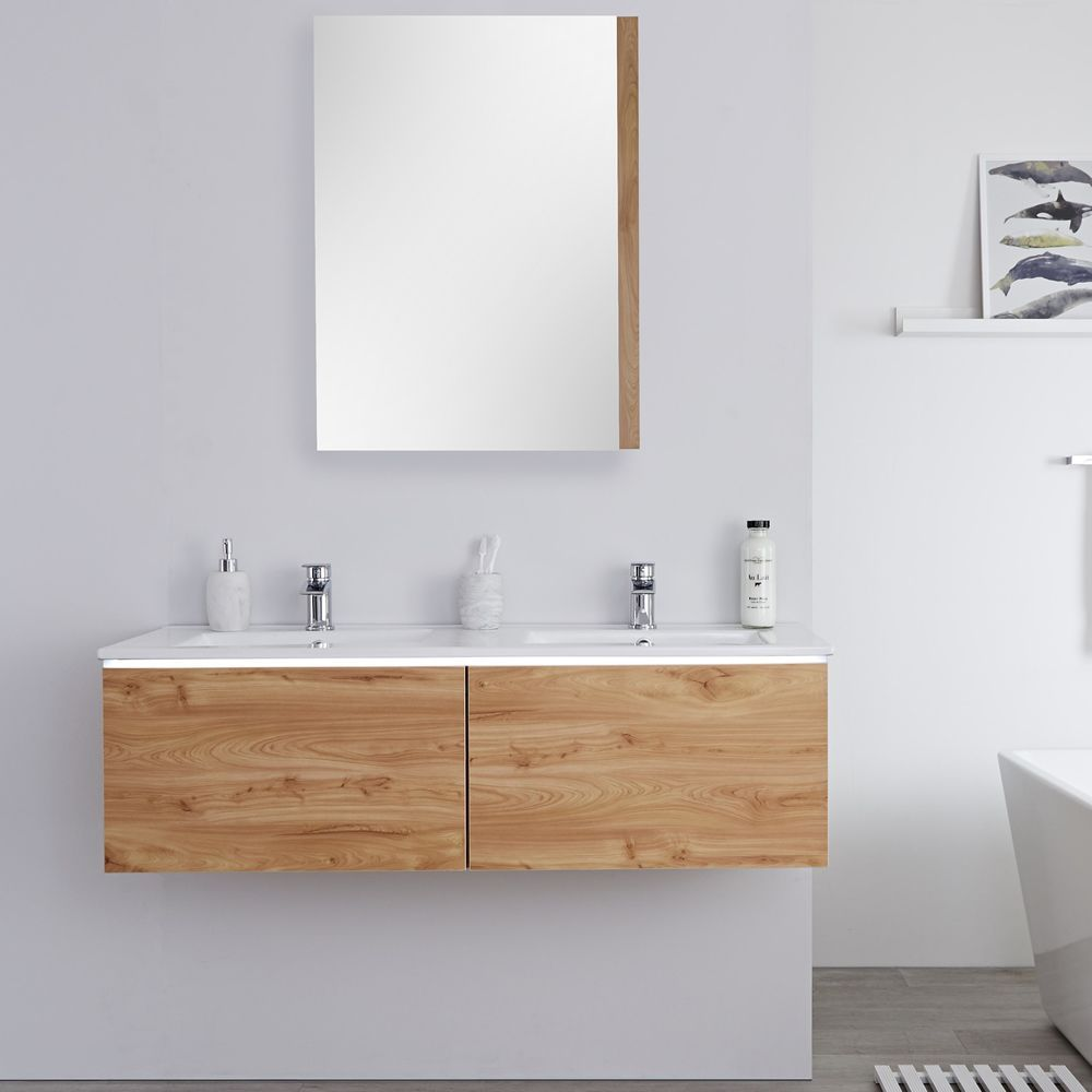 Milano Oxley Golden Oak 1200mm Wall Hung Vanity Unit With Double Basins Basin Vanity Unit Vanity Units Wall Hung Vanity