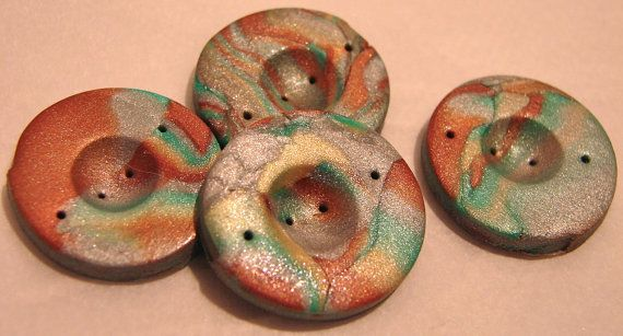Marbled Round MOKUME GANE Polymer Clay BUTTONS Set by KatersAcres