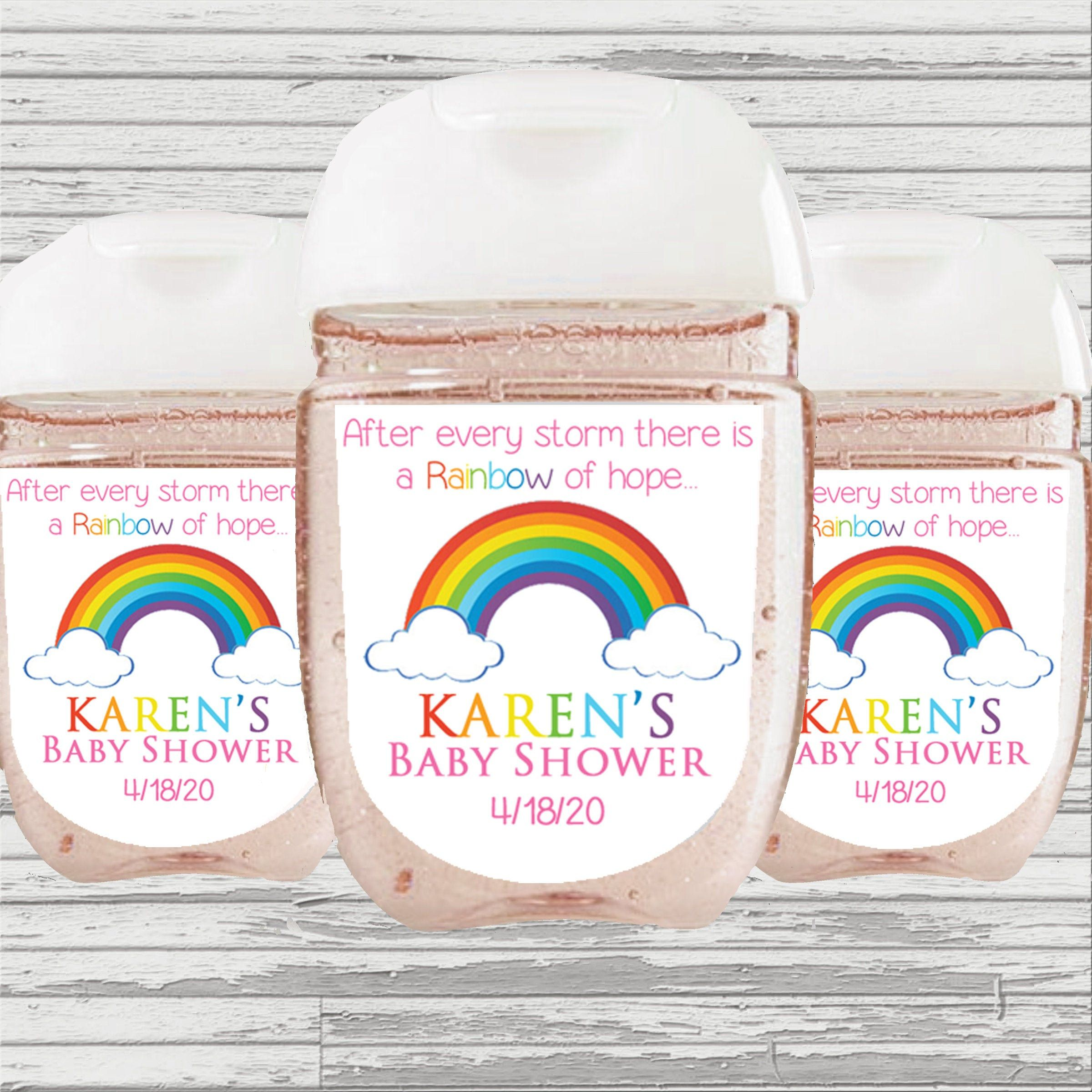 Rainbow Baby Shower Birthday Favor Hand Sanitizer Label Digital