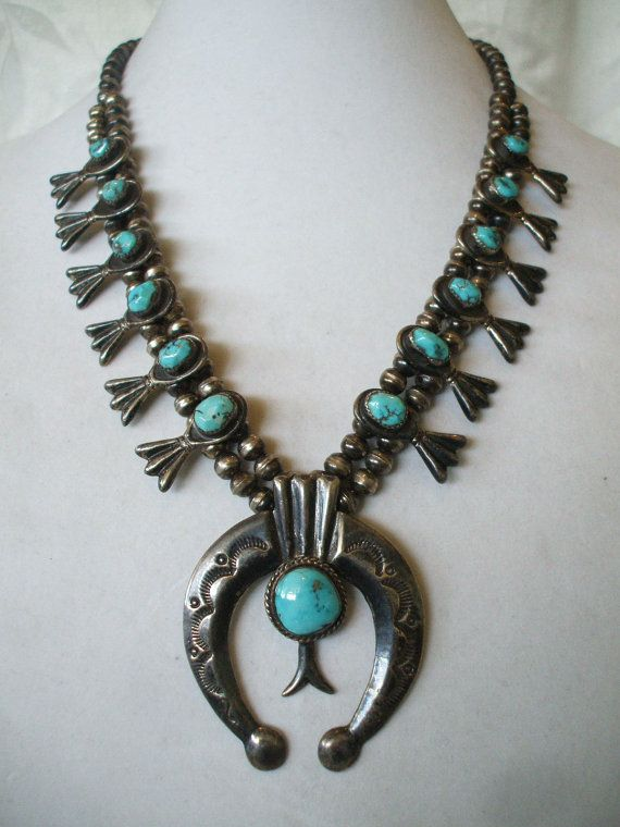 Vintage NAVAJO SandCast Sterling Silver & TURQUOISE Squash Blossom NECKLACE.  TurquoiseKachina, $710.10