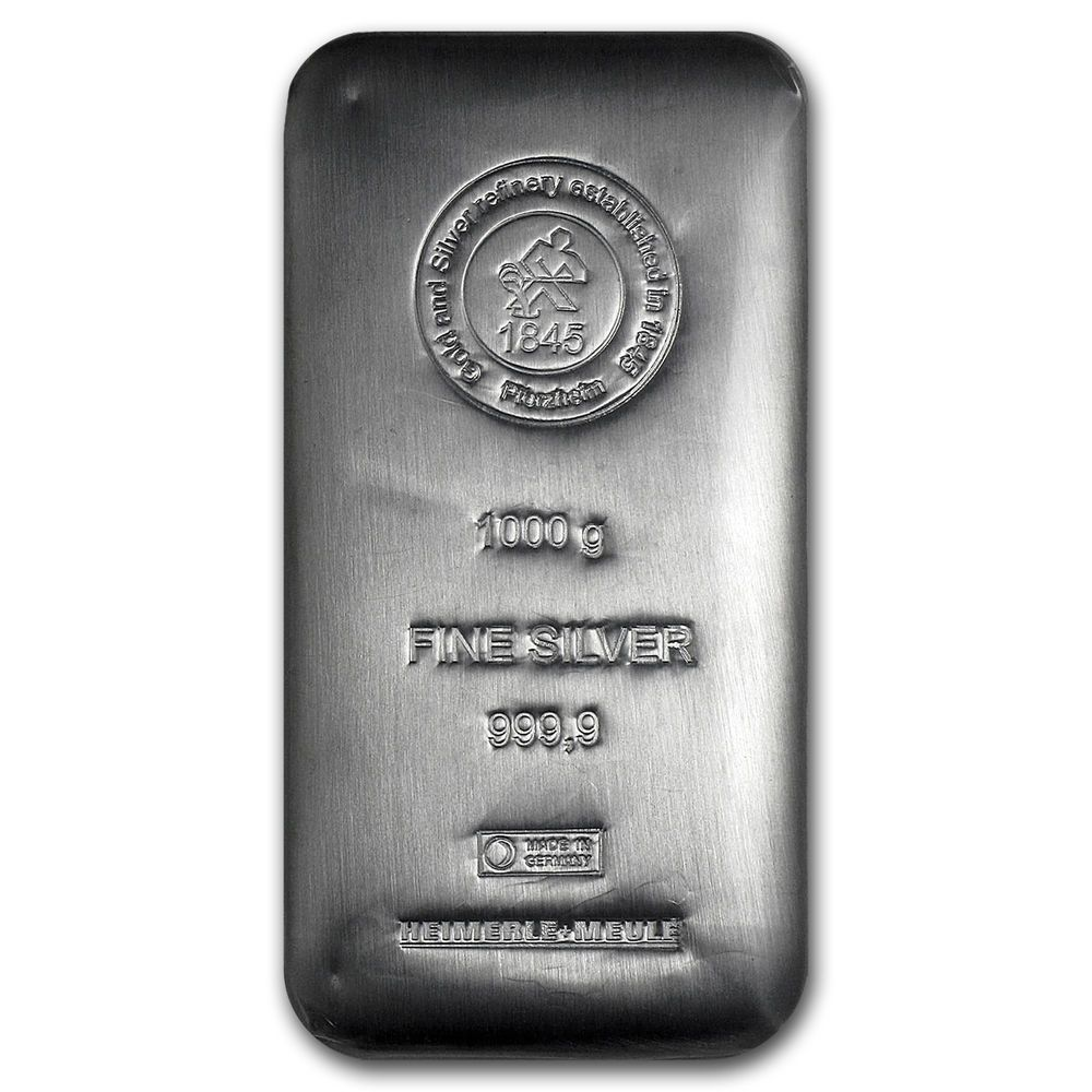 1 000 Gram Silver Bar Heimerle Meule Cast Sku 94632 Silver Bars Silver Fine Silver