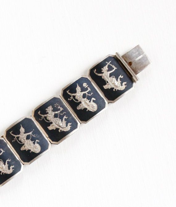 1940s Vintage Siam Thai Sterling Silver /& Black Niello Enamel Clip On Earrings.
