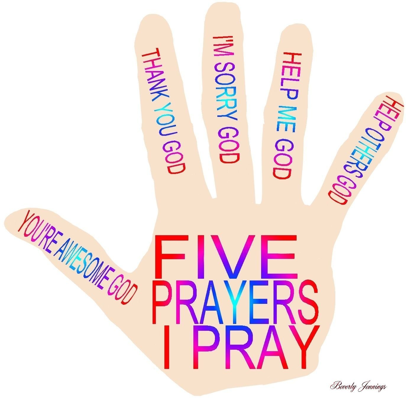 Prayer Hand Five Prayers I Pray Worded For Preschoolers