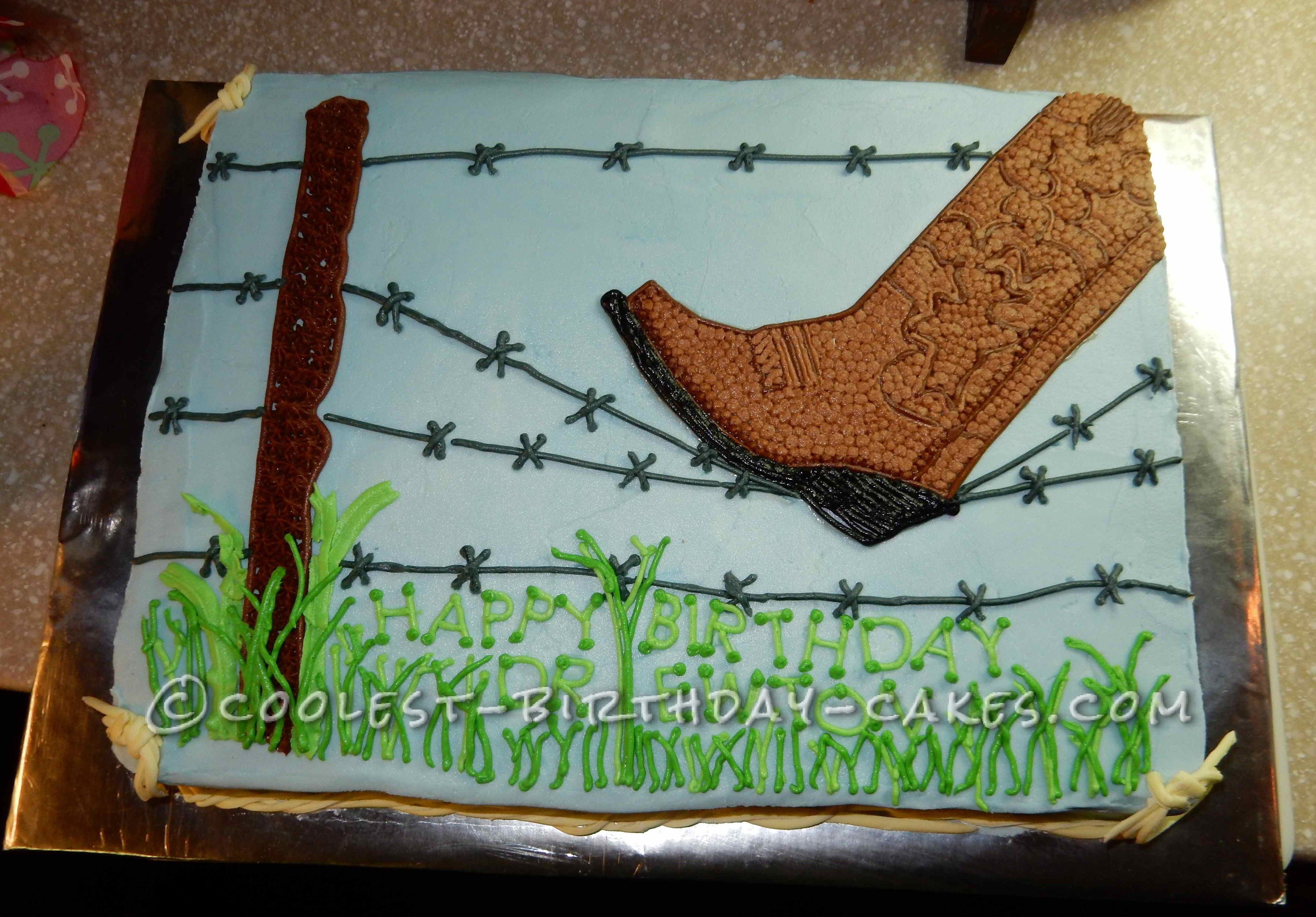 Peachy Barbed Wire And Cowboy Boot Birthday Cake With Images Cowboy Funny Birthday Cards Online Barepcheapnameinfo