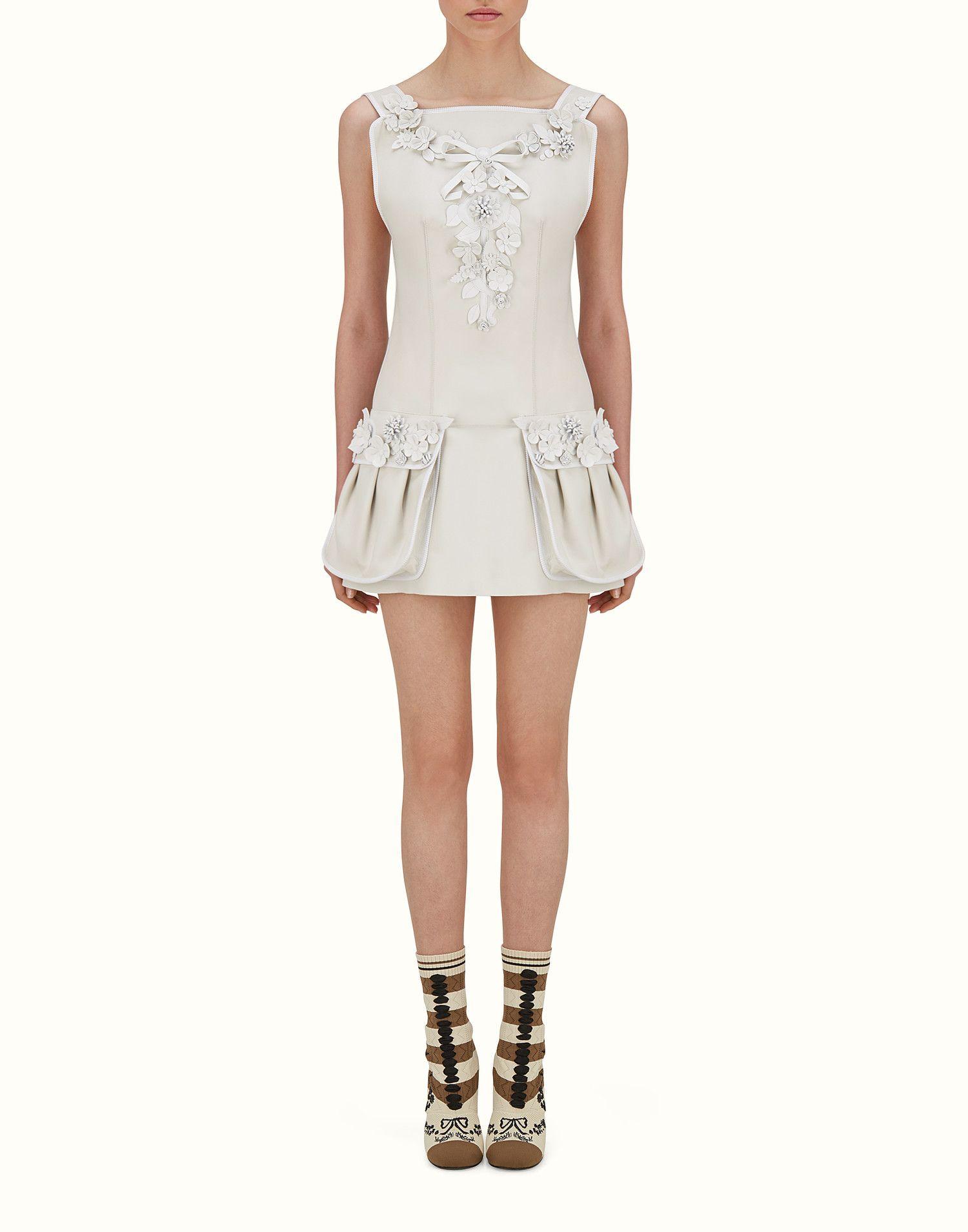 Fendi Short Dress Dress In White Nappa With Appliques View 1 Zoom Designer Outfits Woman Designer Shirt Dresses Short Dresses [ 1910 x 1500 Pixel ]