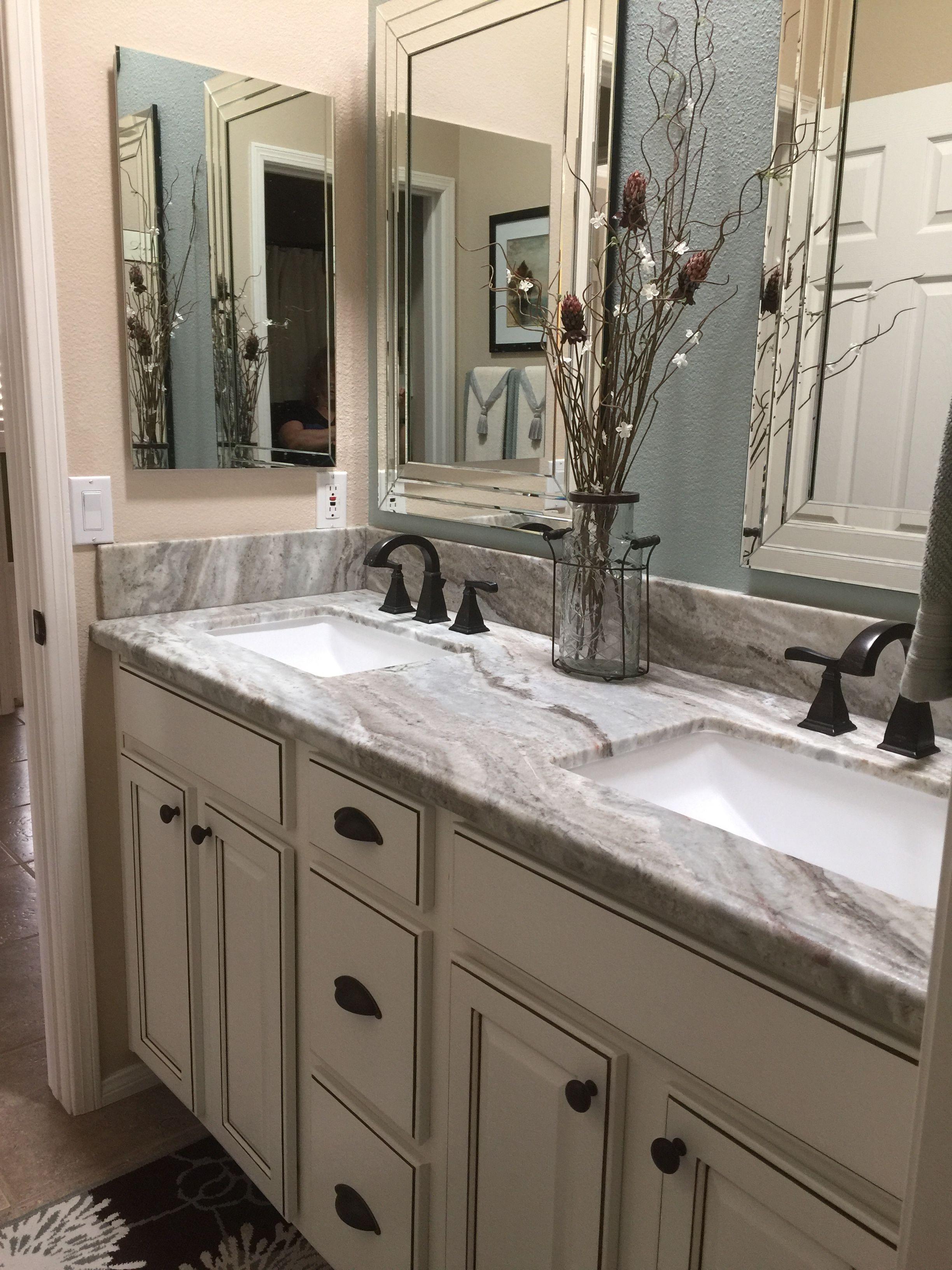 Cream With Grey Countertop Grey Countertops Bathroom Remodel Master Bathroom Countertops