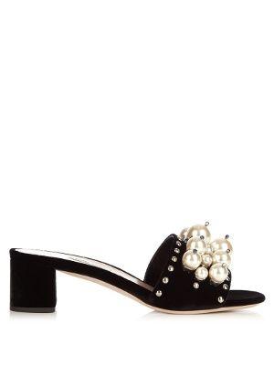 0b69aa4df236 Embellished block-heel velvet mules
