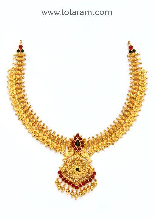 22k gold  u0026 39 peacock u0026 39  necklace  temple jewellery