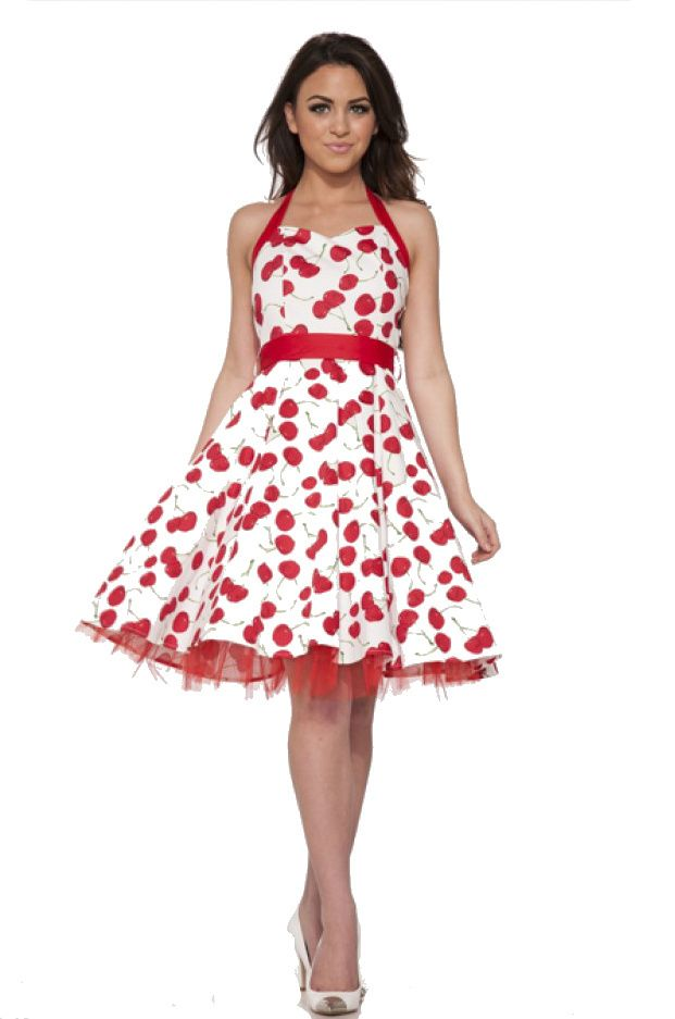 5c9e7dd28db H R London Retro Inspired Big Cherry White Red Halter Pinup Dress - Modern  Grease Clothing and Accessories Co.