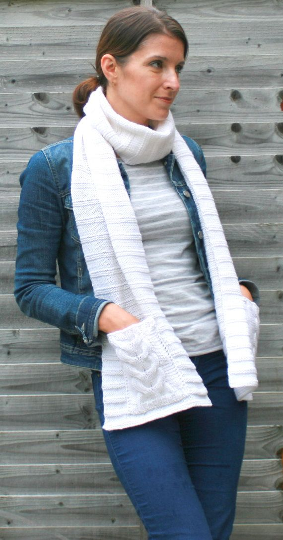 Photo of Women's Oversized Scarf / Knitted Scarf / Scarf with pockets / Wool Scarf / White scarf