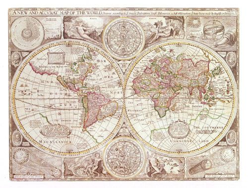 Fabric Yardage Antique World Map Fabric Crafting by Mapology, $2000 - new antique world map images