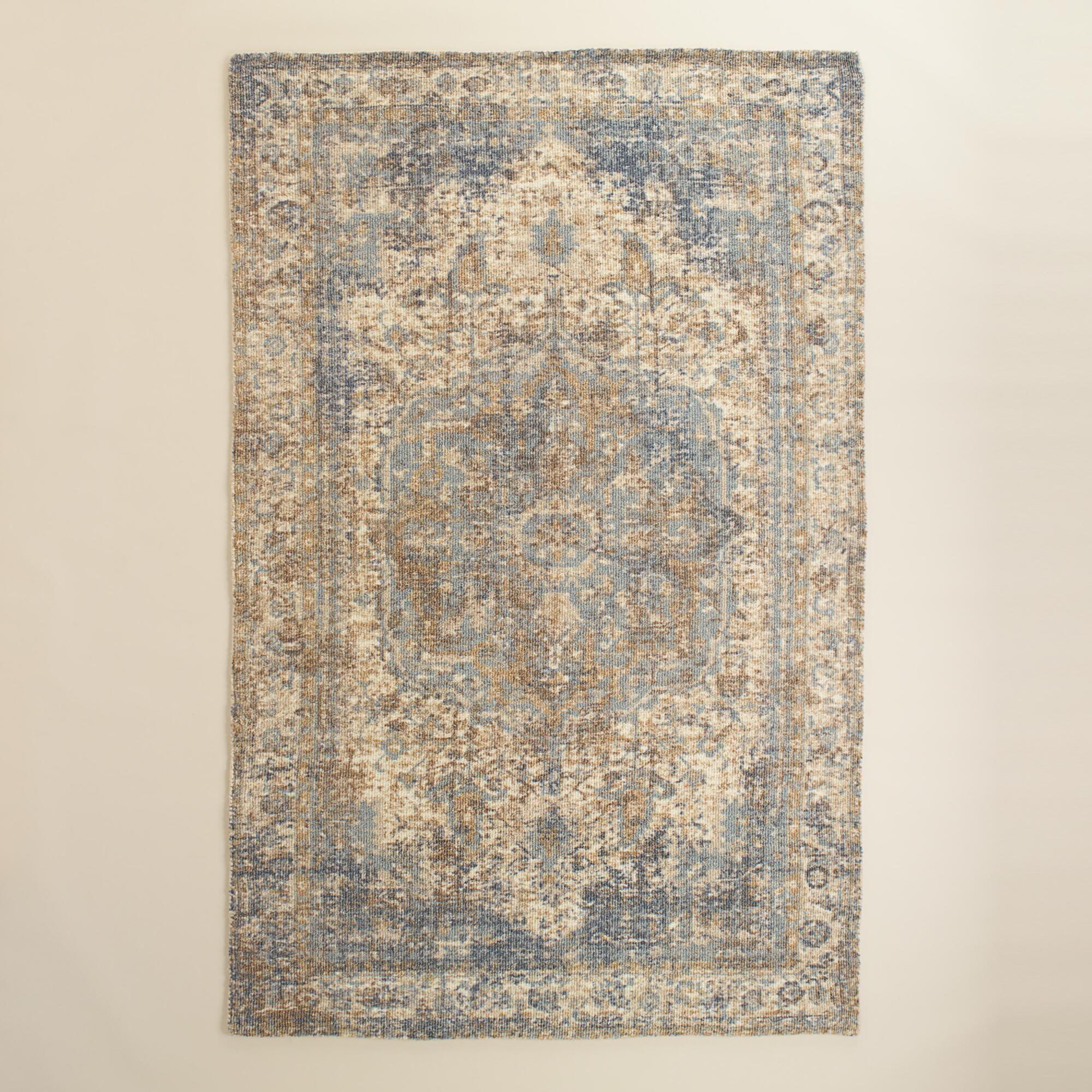 5x8 blue gray print tufted nylon veronica area rug | nylon rugs
