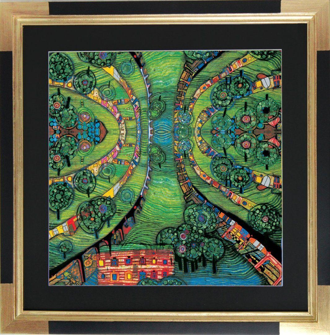 Hundertwasser Bild Grüne Stadt Poster Kunstdruck mit Folienprägung 48x48 cm