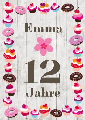 Trendy Einladungskarte Für Mädchen Mit U201esüßemu201c Rahmen Aus Cupcakes Und  Donuts (12. Geburtstag). #12geburtstag #kindergeburtstag  #einladunggeburtstag