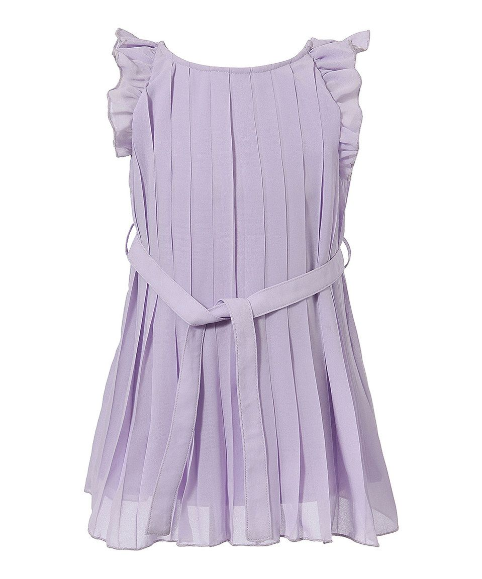 Love this Light Purple Pleated Angel-Sleeve Dress - Toddler & Girls by Richie House on #zulily! #zulilyfinds