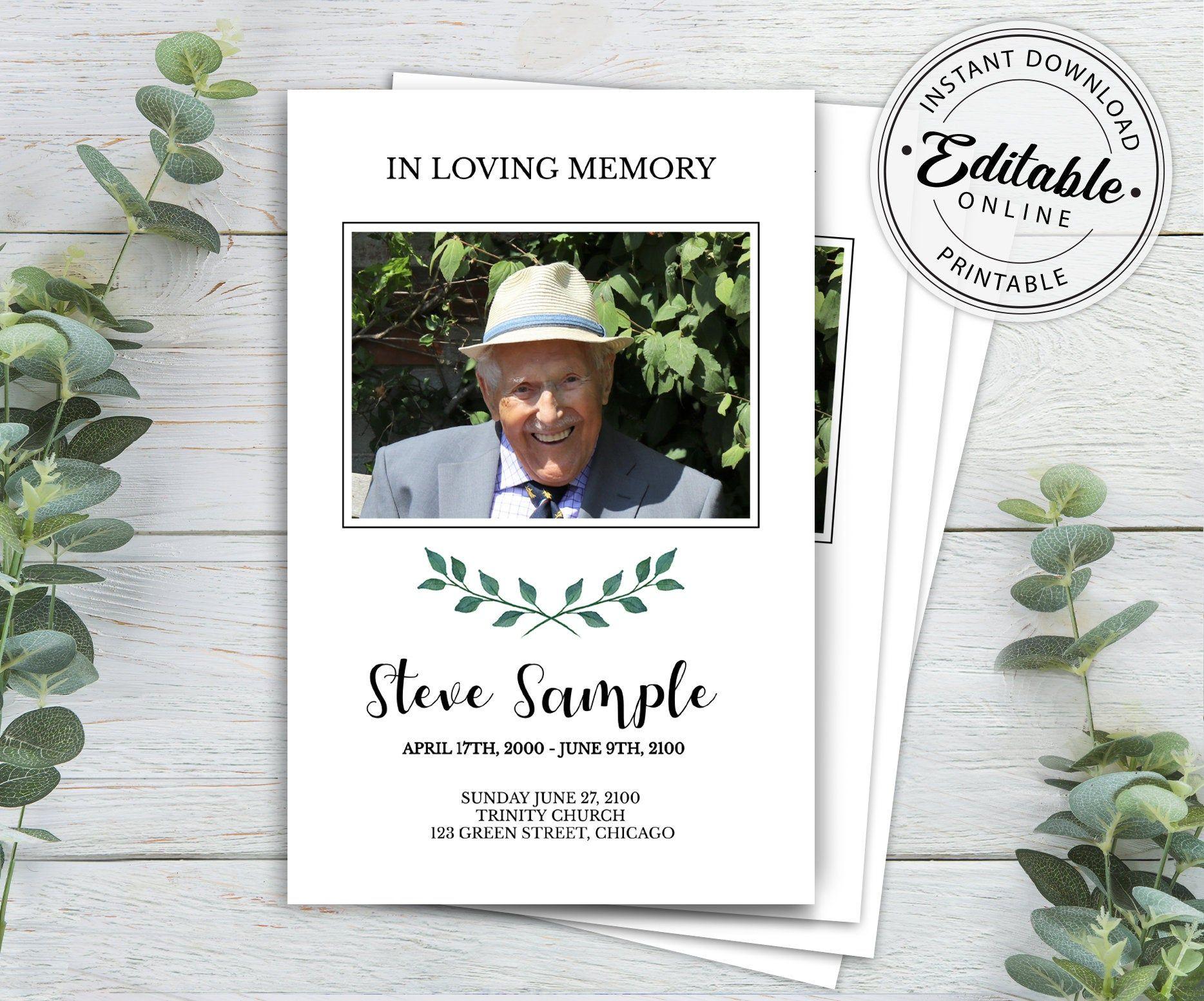 Funeral program template memorial program template