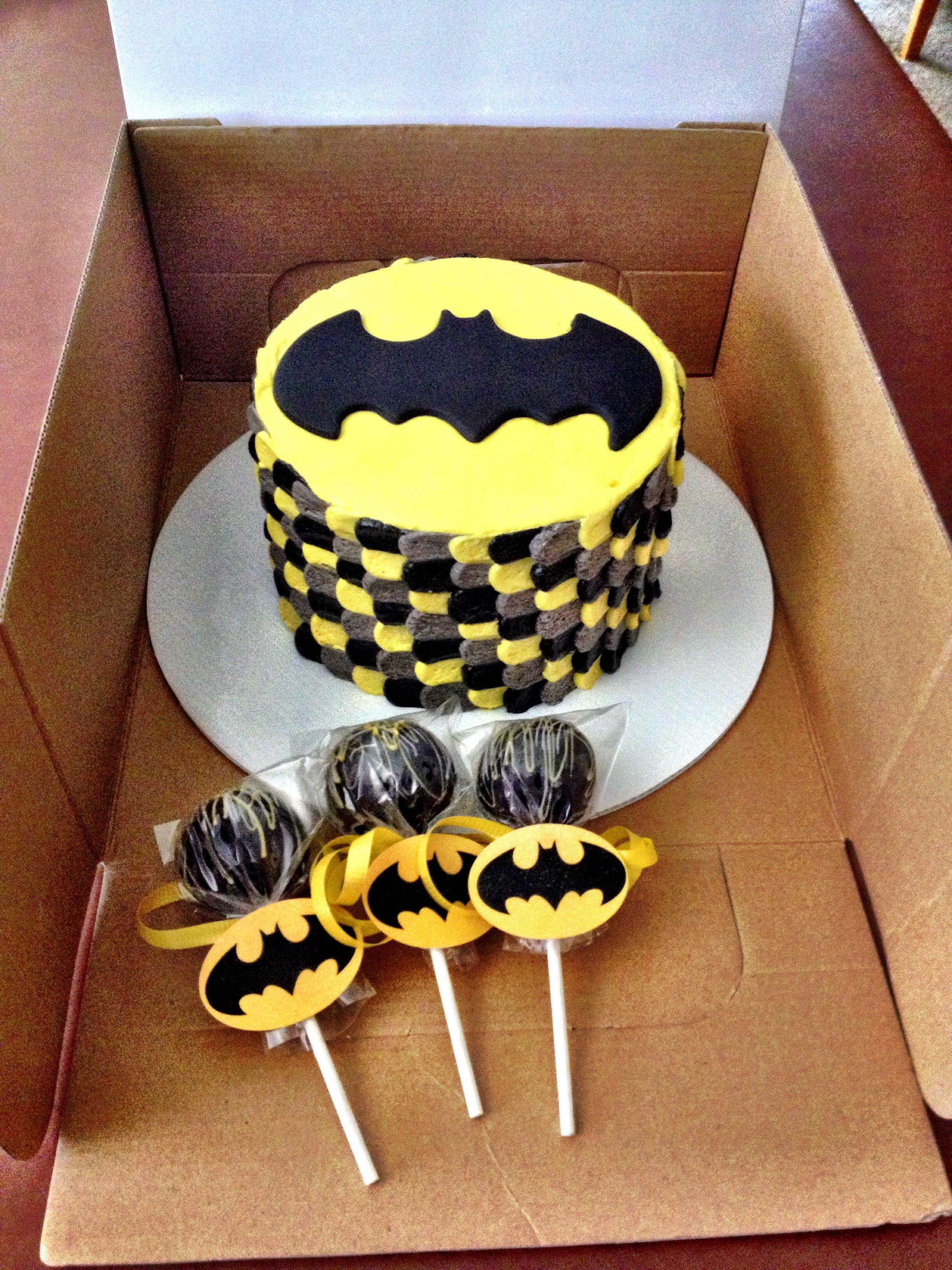 Batman Smash Cake And Cake Pops With Images Batman Birthday