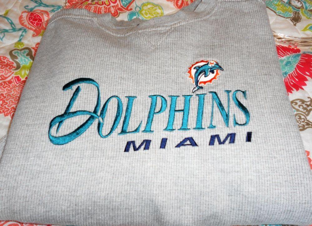 VINTAGE MIAMI DOLPHINS GRAY EMBROIDERED SWEATSHIRT MEN SIZE XL ~EXCELLENT  #LOGOATHLETICSNFL #MiamiDolphins