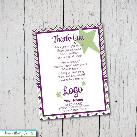 Thank You Cards For Your Scentsy Business By Homepartyprints Scentsy Party Thank You Card Wording Party Invitations