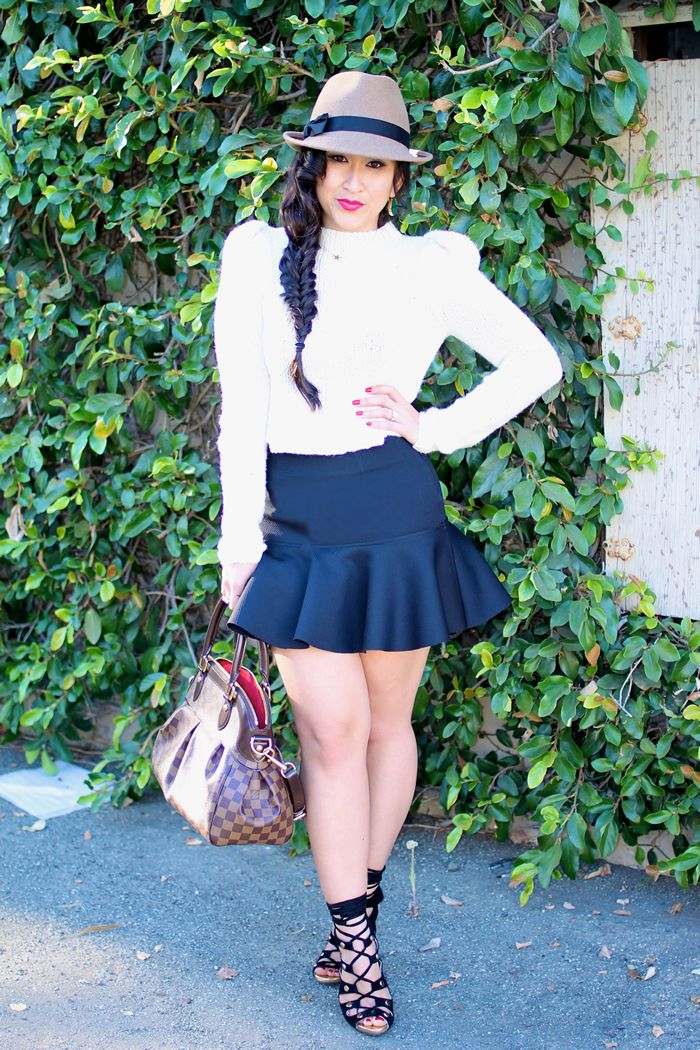 Trumpet skirt, puff shoulder sweater, fedora and laced up Jeffrey Campbell heels