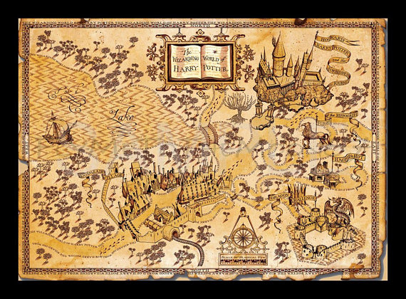 Harry Potter Map Print ~ Wizarding World of Harry Potter ~ Harry ...