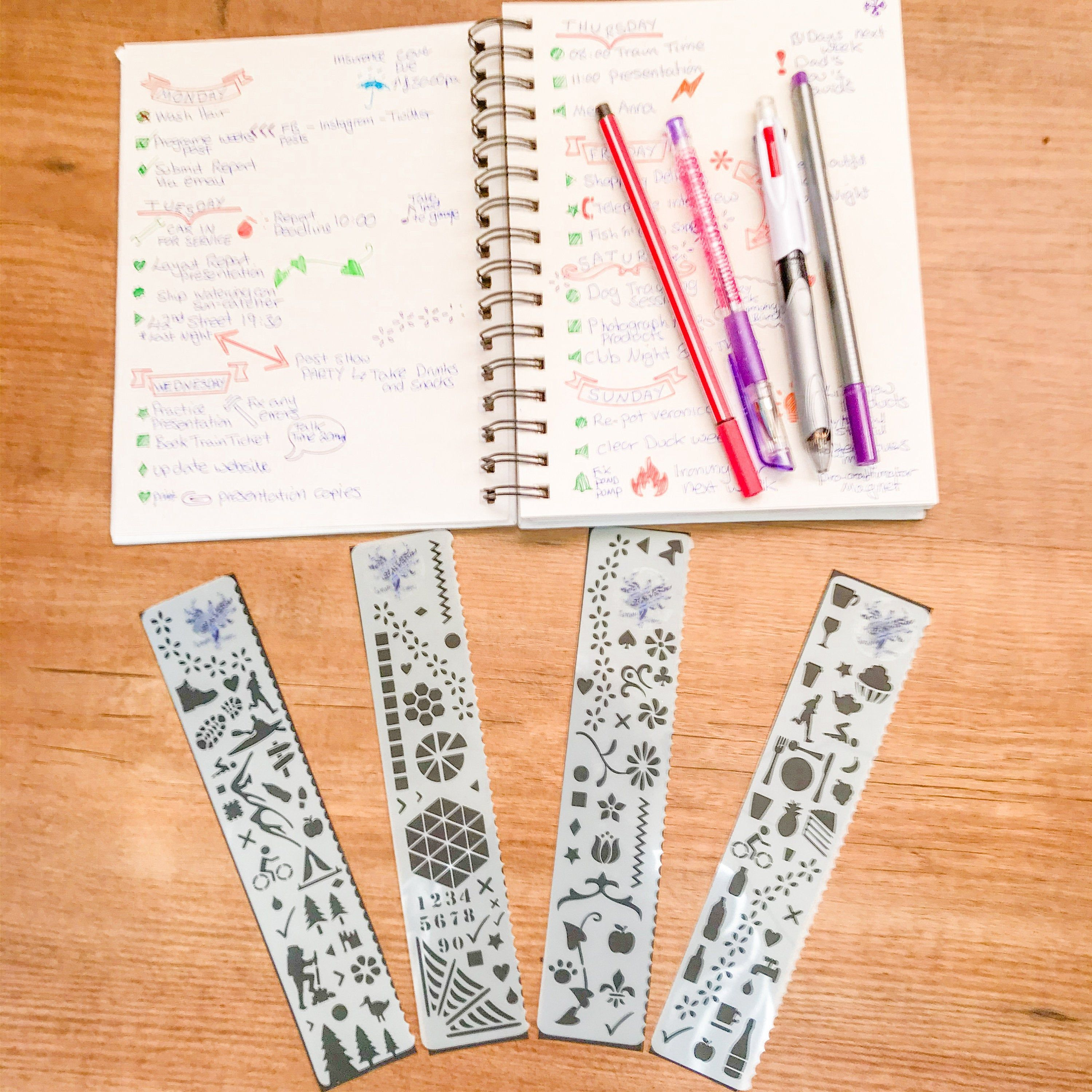 Bullet Journal Bookmark Stencils Collection, Planner
