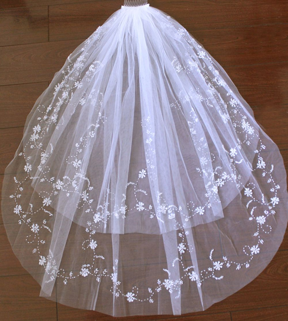 Click to buy ucuc white ivory wedding accessories veil layers beaded