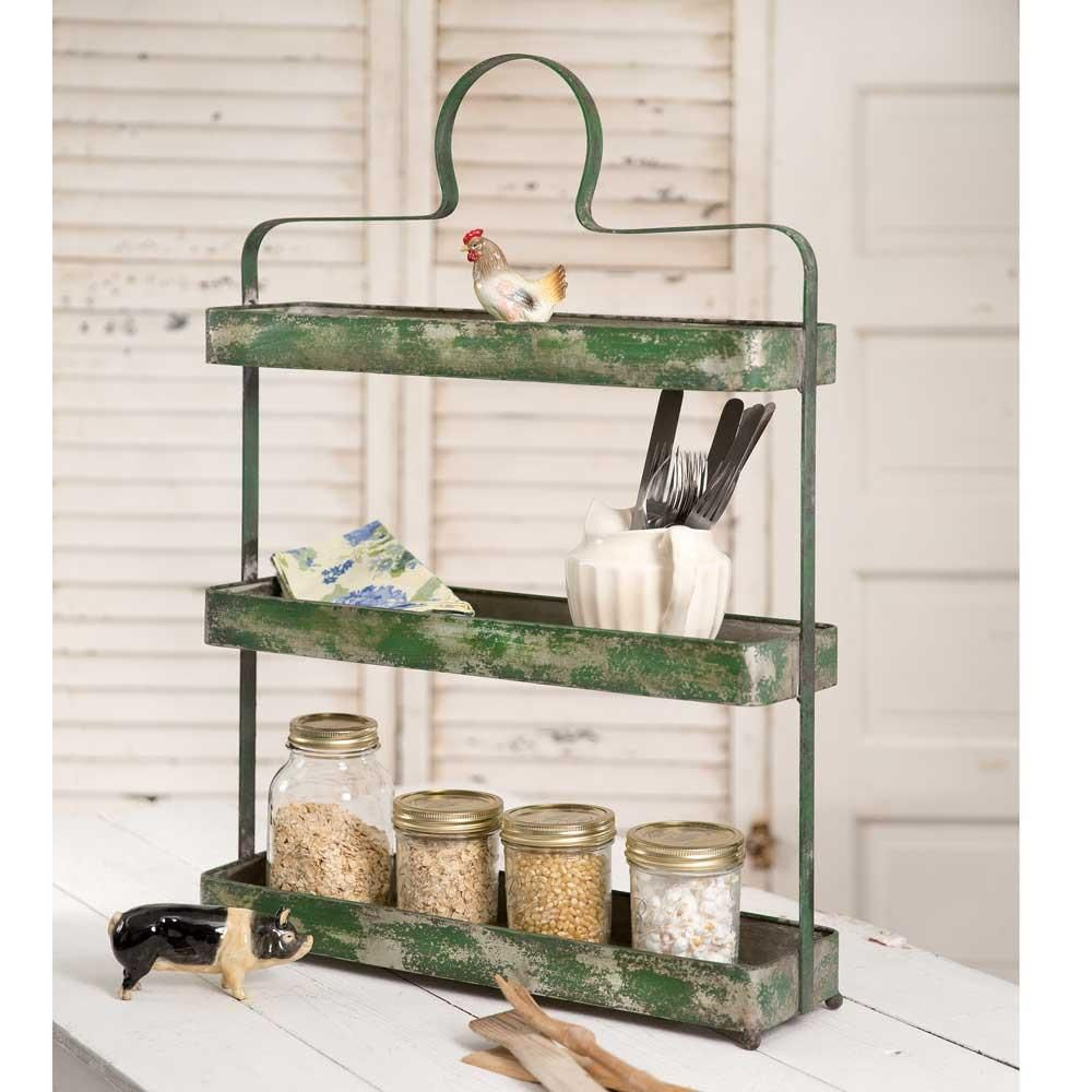 Distress Three Tier Tabletop Standing Shelf Spice Rack Thelma S Online Standing Shelves Decor Country Kitchen Designs