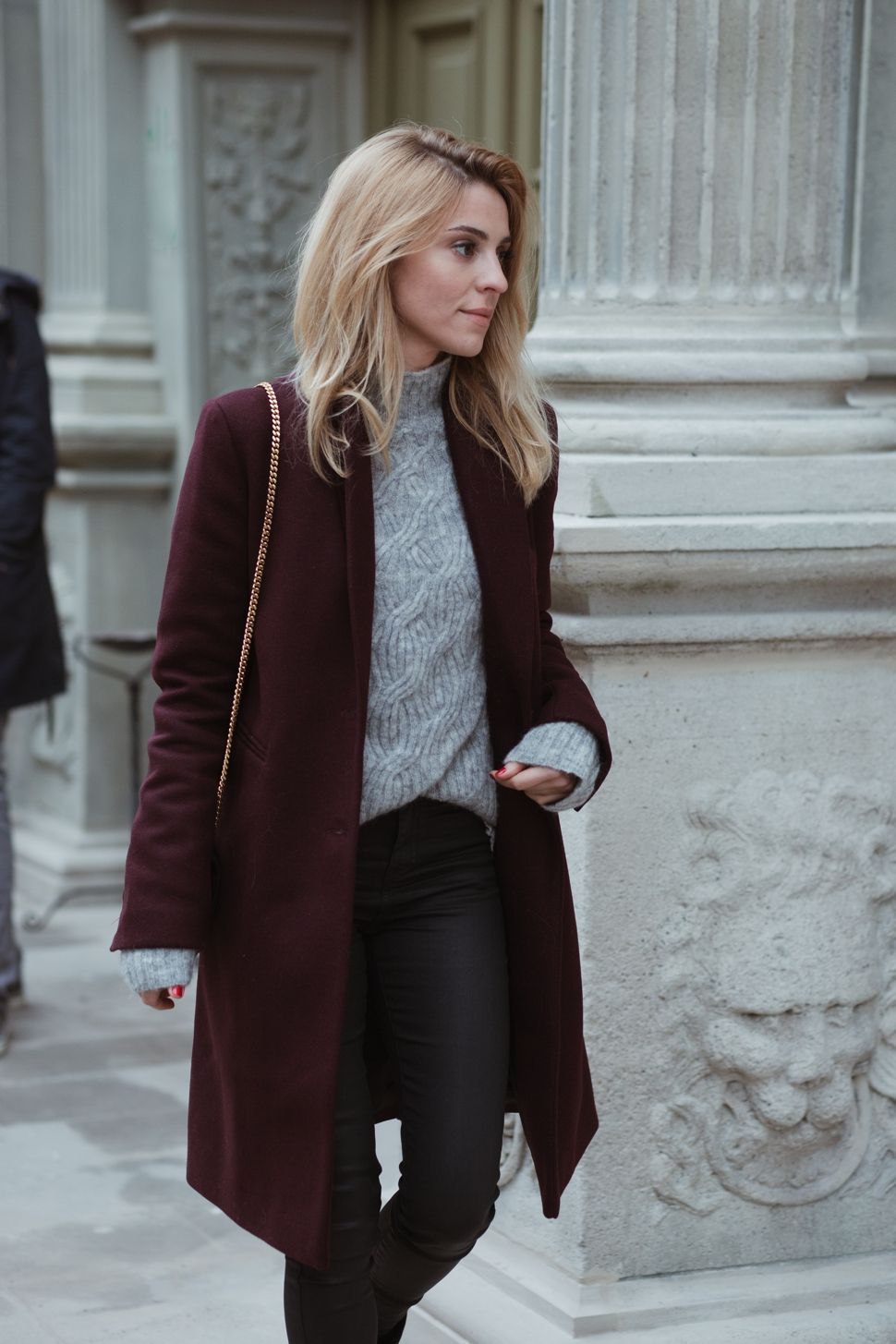 Burgundy coat with cozy light grey cable knit sweater ...