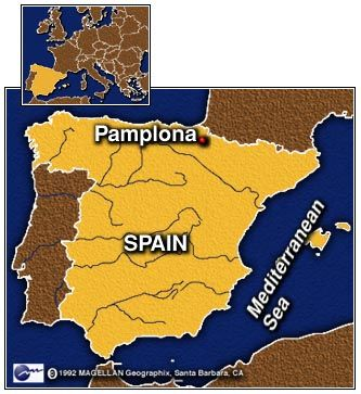 Map Of Spain Pamplona.Map Of Pamplona In Northeast Spain Pamplona Iruna Spain