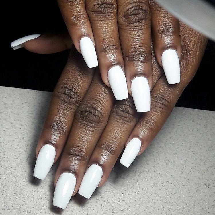 Follow Us On Twitter Darkskinwomen White Coffin Nails Matte White Nails Trendy Nails