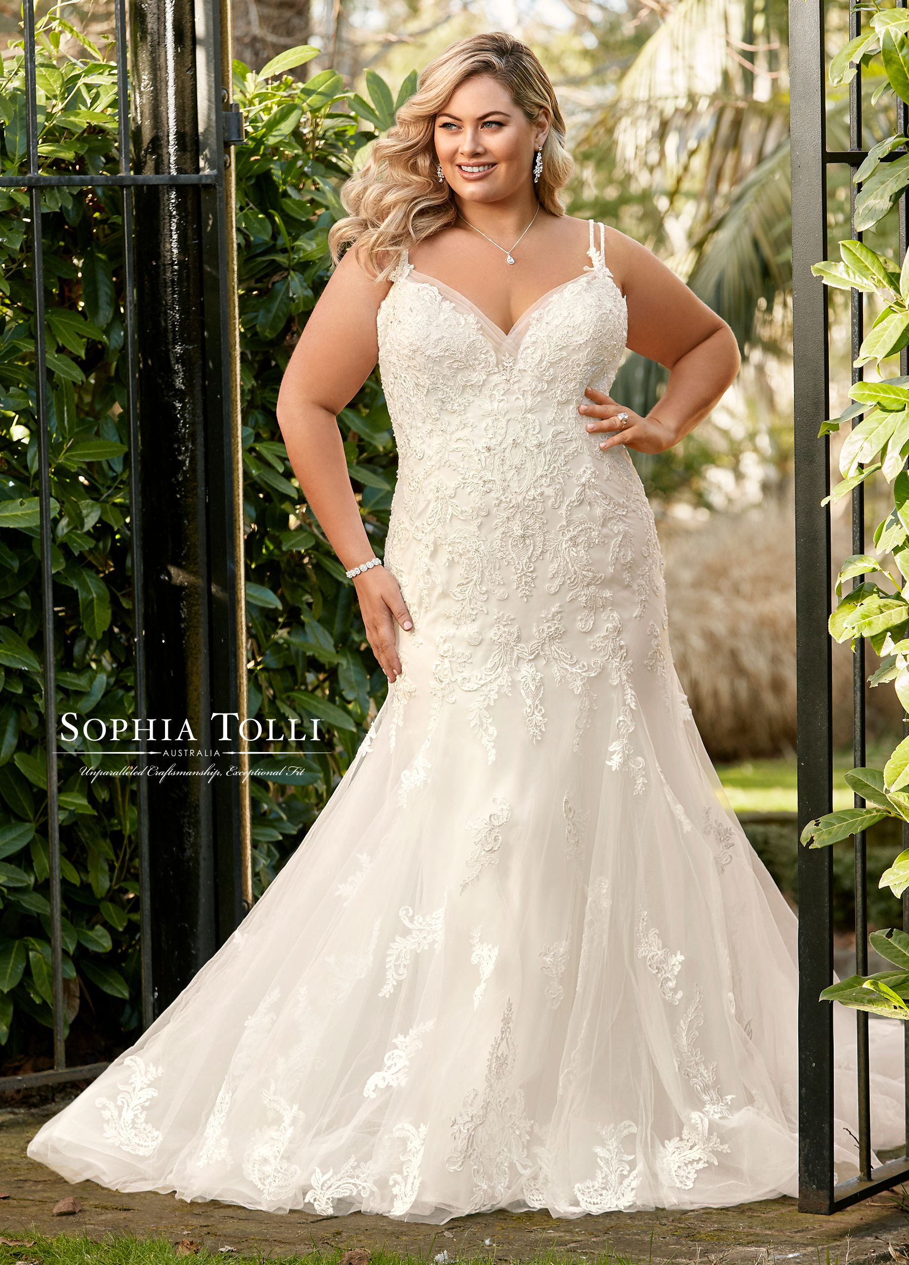 cf977239ff69 Fit   Flare V-Neck Beaded Lace Wedding Dress- Y11957B Marley Grace ...