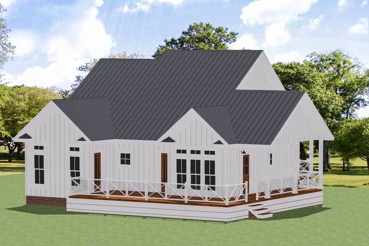 Plan 46367la Charming One Story Two Bed Farmhouse Plan With Wrap Around Porch Farmhouse Plans House With Porch House Plans