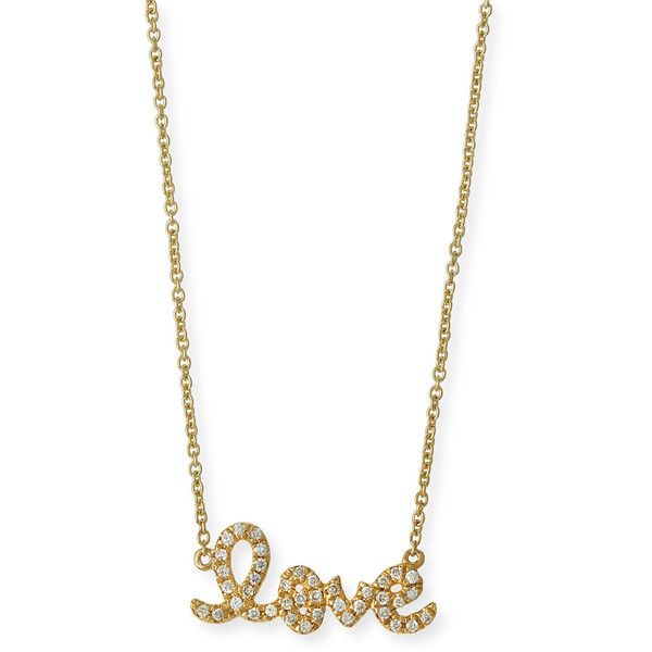 Sydney Evan 14k Yellow Gold Small Diamond Love Necklace U8UjB