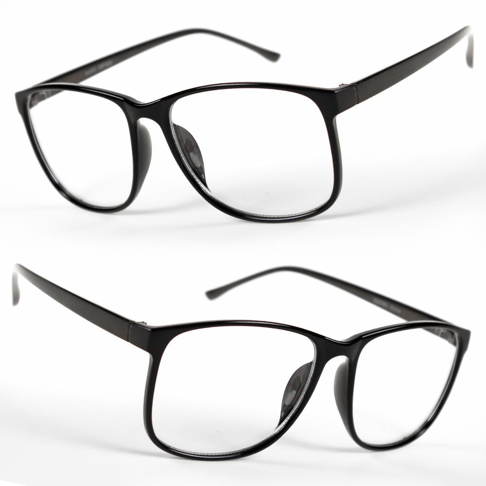 d6367ff104c Large Oversized Vintage Glasses Clear Lens Thin Frame Nerd Glasses Retro  BLACK  Sunclassy  Square