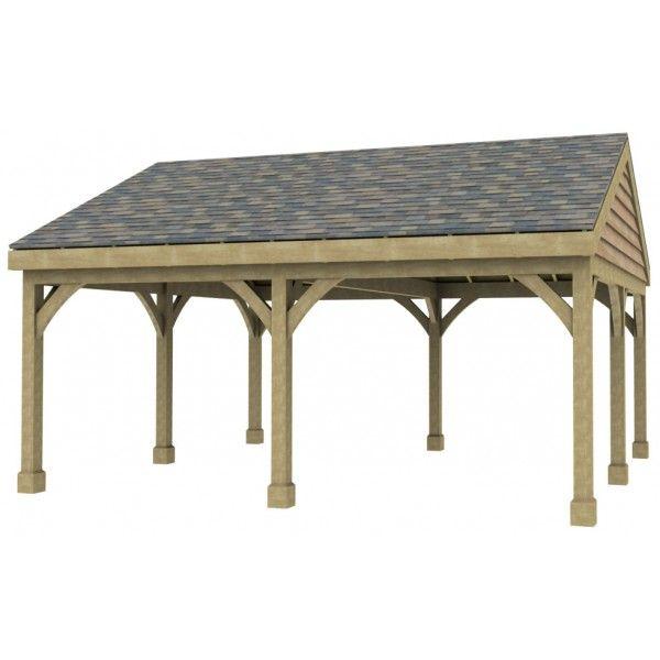 2 bay carport post beam green oak or douglas fir for Carport roof pitch