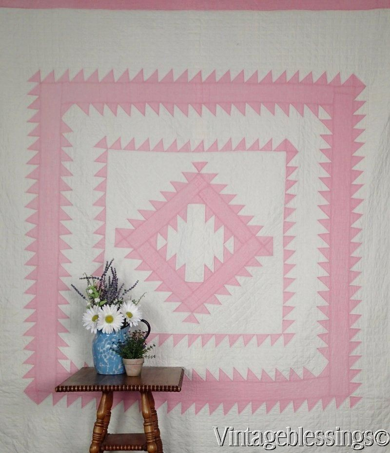 """Vintage 30s Sawtooth Diamond in a Square Graphic Pink & White QUILT 79"""" x 71"""" www.Vintageblessings.com"""