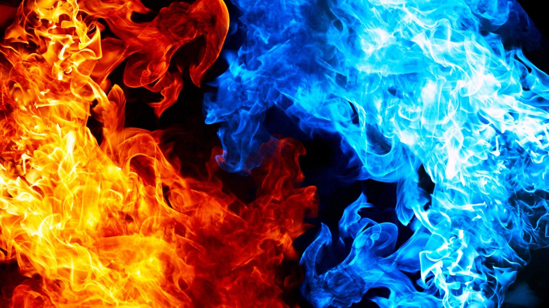 Blue Red Fire Black background wallpaper, Skull