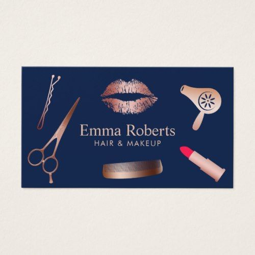 Makeup artist hair salon chic rose gold navy blue business card makeup artist hair salon chic rose gold navy blue business card colourmoves