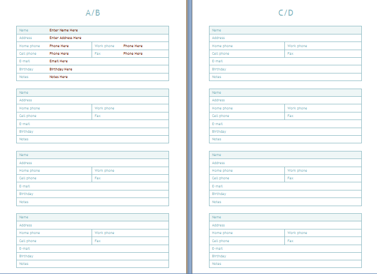 Phone and address book template at for Electronic address book template