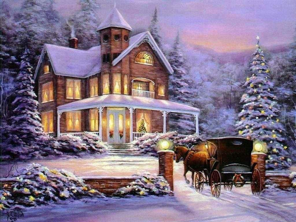 Snow falls gently over beautiful old fashioned Christmas scenes as a ...