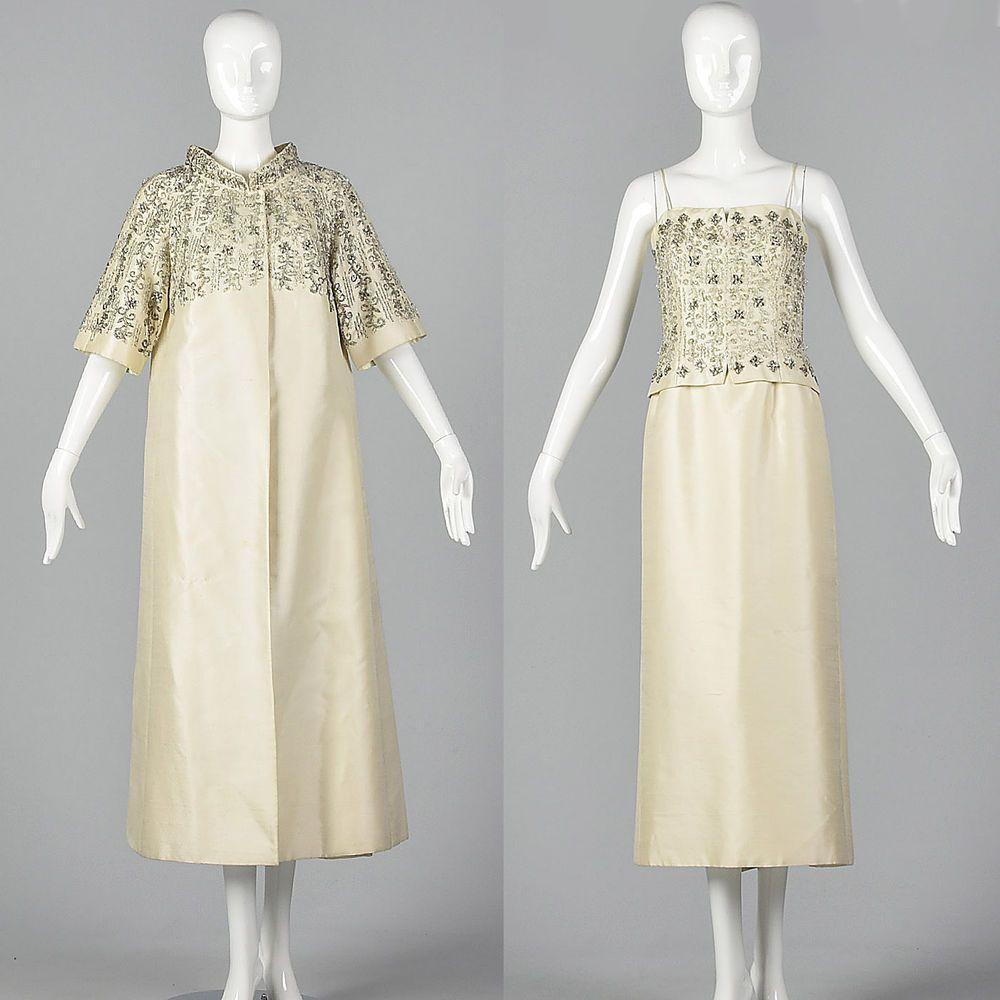 XS 1960s Wedding Ensemble Beaded Bridal Dress Opera Coat