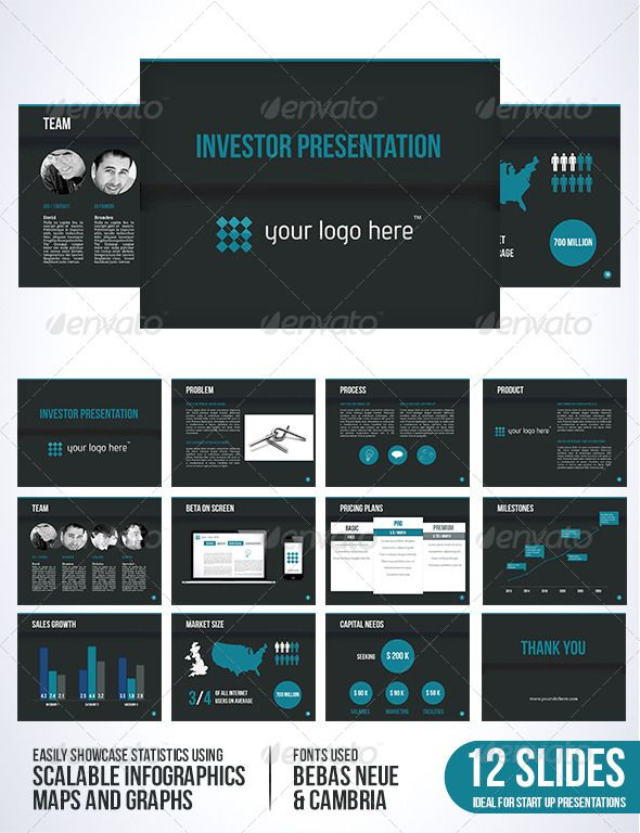investor template dark edition   investors, color text and, Presentation templates