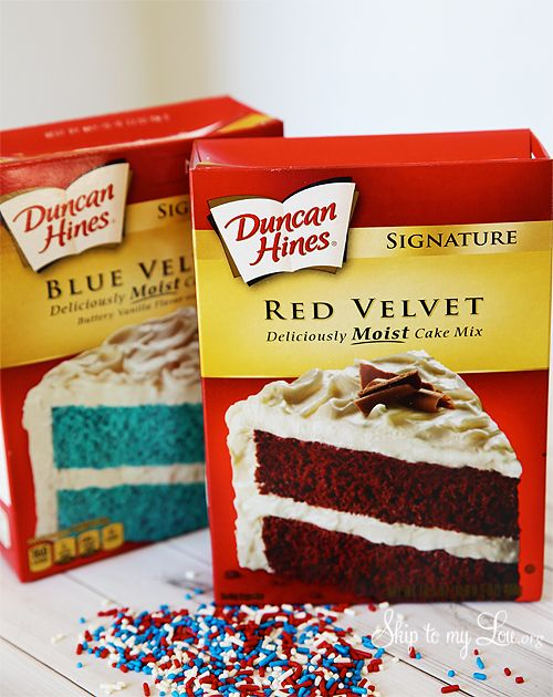Last Minute Super Quick Fourth Of July Cookies Duncan Hines Recipes Blue Velvet Cakes Cake Mix Cookies