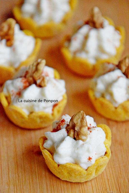 Amuse bouche à la crème de chou fleur et moutarde aux noix - La cuisine de Ponpon: rapide et facile! #amusebouchefacile