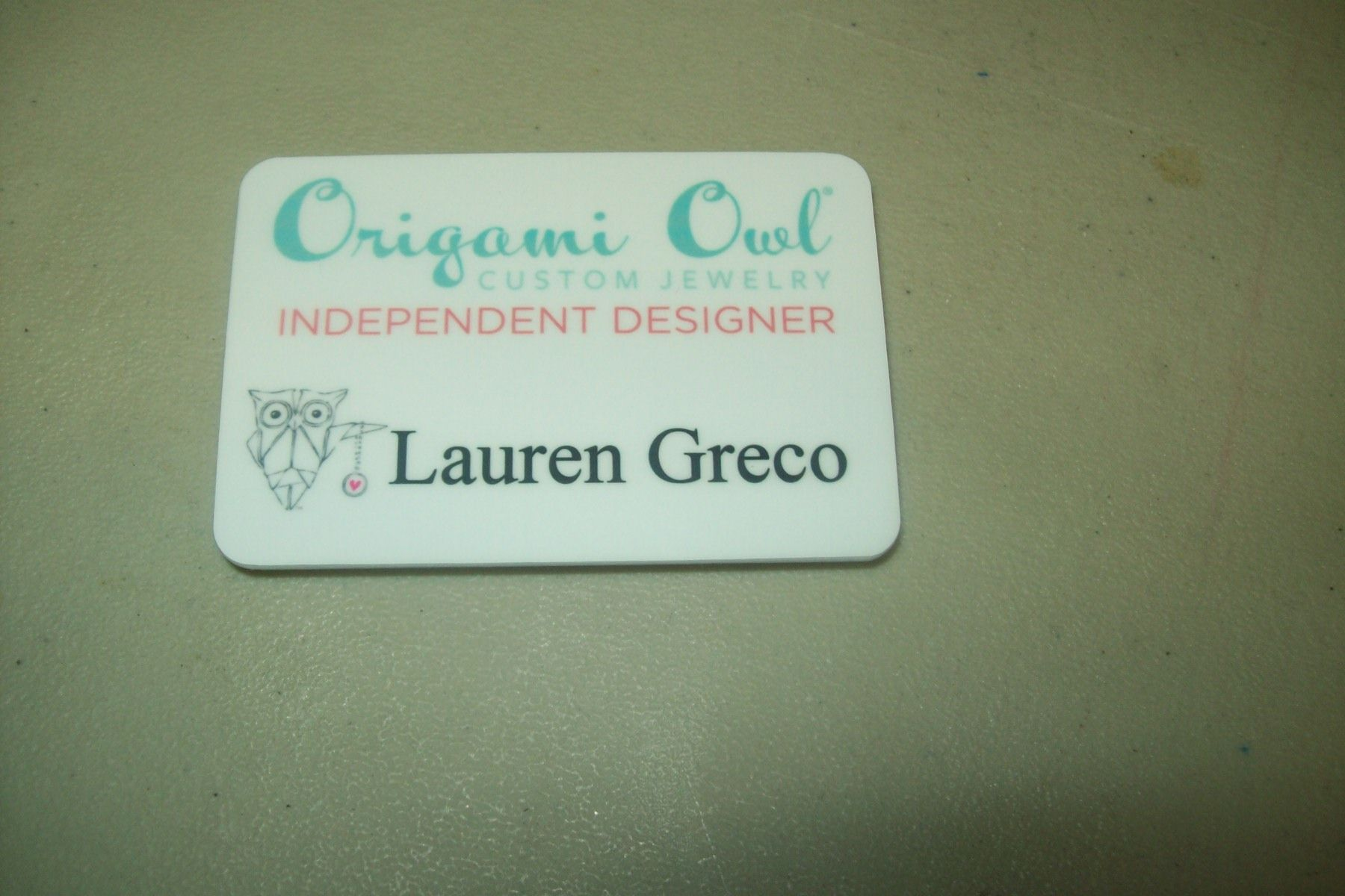 origami owl name badge, we print anything you want on your name badges.