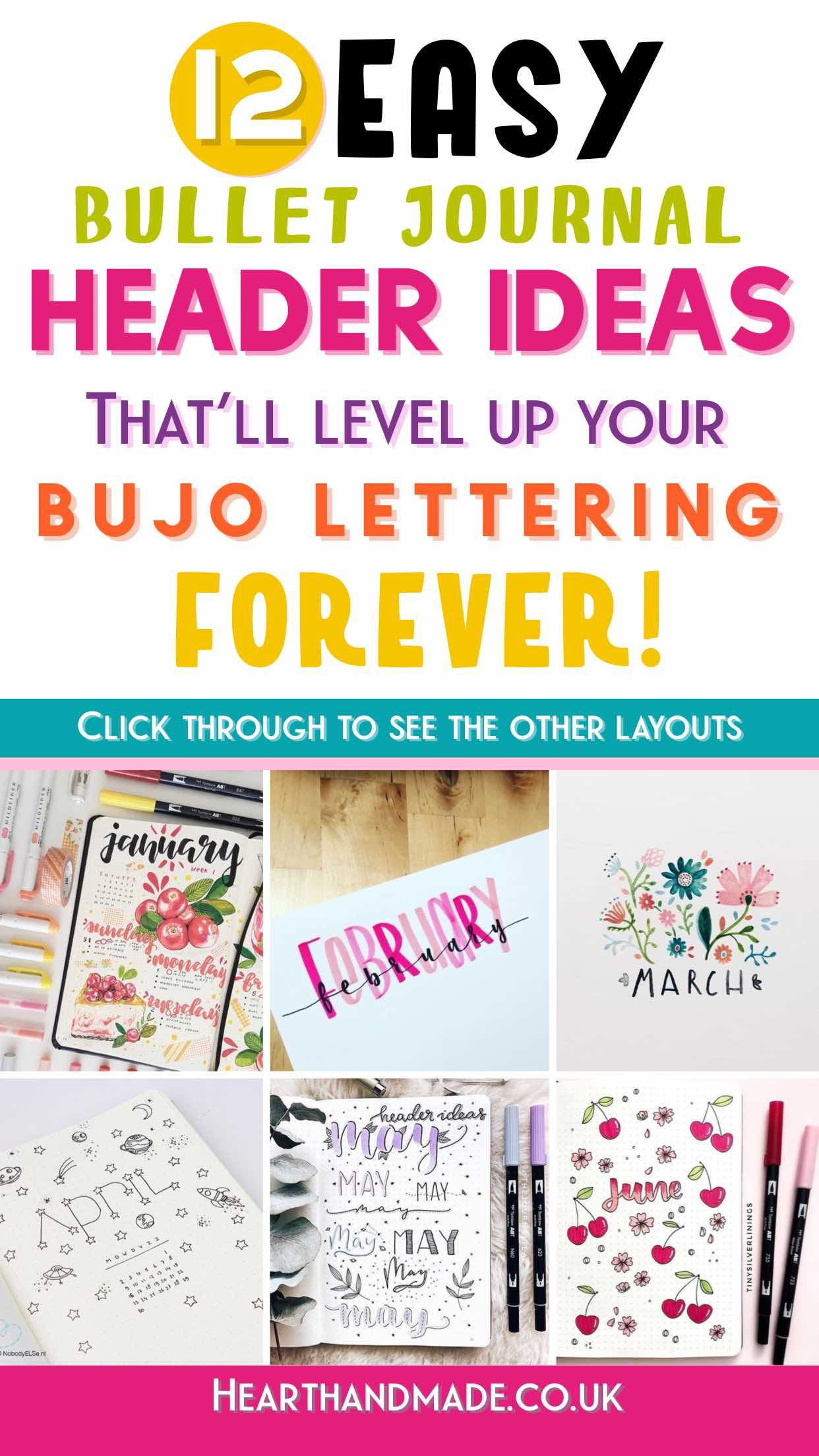 20 Insanely Simple Bullet Journal Header Ideas To Steal   Bullet ...
