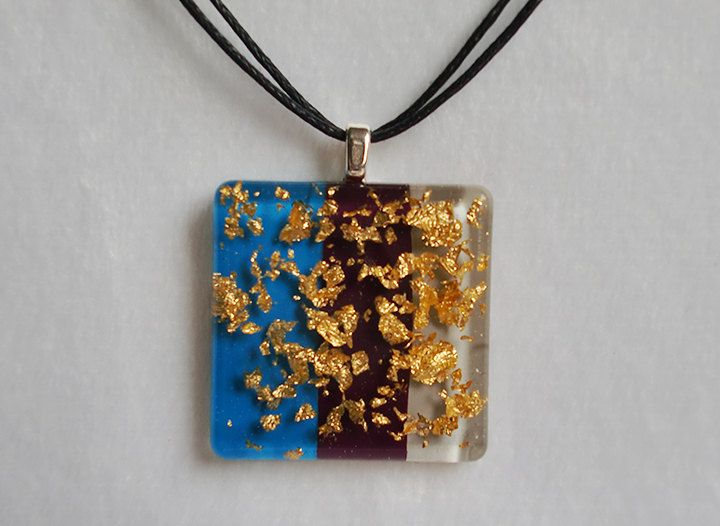 Blue Purple and Grey Gold Flakes Resin Necklace - Handmede Resin Jewelry and Accessories