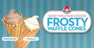 Good Times Made Sweeter.  Frosty Waffle Cones.
