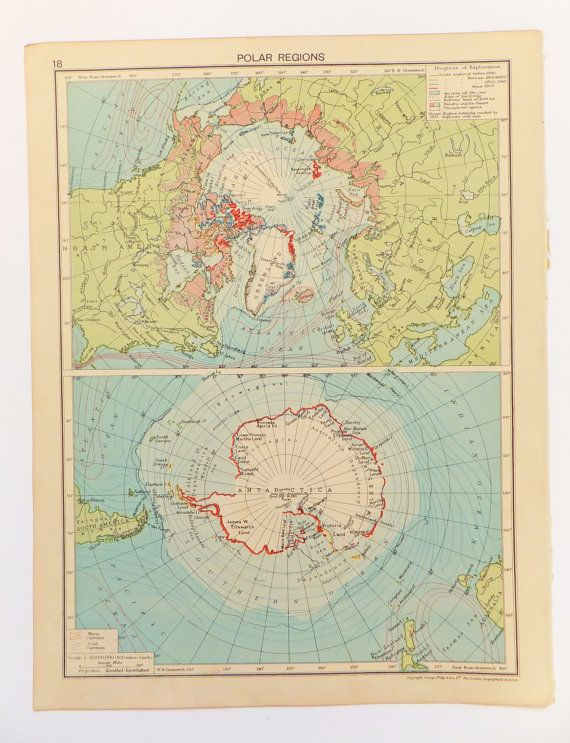 1948 Polar Regions Map Large Vintage Map of the Polar Regions